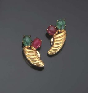 Pair of Ruby and Emerald Gold Earrings by Suzanne Belperron. Photo Courtesy of Christie's.