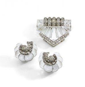 Carved Rock Crystal Brooch and Earrings, c.1935 Suzanne Belperron.