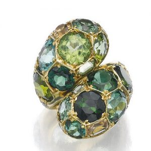Belperron Tourmaline and Topaz Ring, c.1970. With Maker's Mark for Darde et Cie.