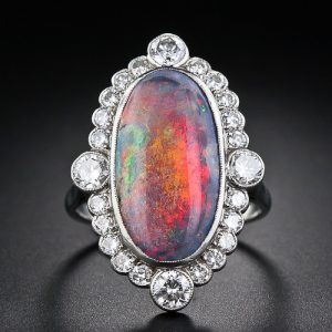 Black Opal and Diamond Ring.
