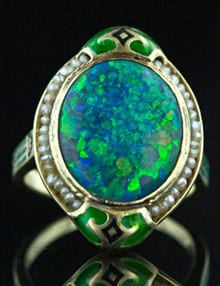 Art Nouveau Black Opal Ring.