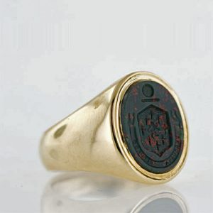 Tiffany & Co. Bloodstone Intaglio Signet Ring with a Coat of Arms Seal.