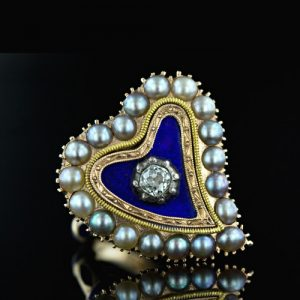 Blue Enamel Heart with Pearls c.1800.