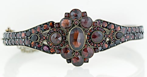 Bohemian Garnet Bangle Bracelet Main View 140-1-1252.jpg