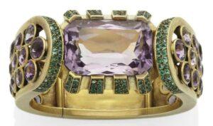 René Boivin Amethyst and Emerald Bracelet.