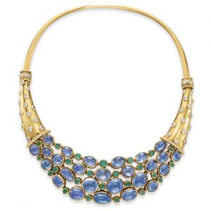 René Boivin Cornucopia Sapphire and Emerald Necklace, c. 1938. Photo Courtesy of Christie's.