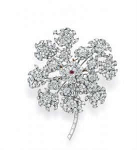 René Boivin Diamond and Ruby Floral Brooch Pendant. Circa 1938. Photo Courtesy of Christie's.