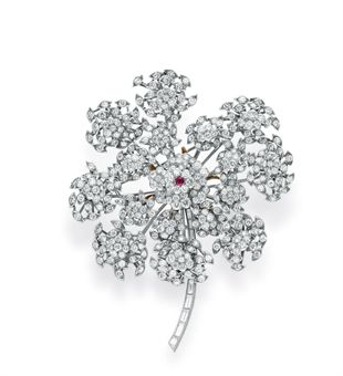 Boivin Diamond and Ruby Floral Brooch .jpg