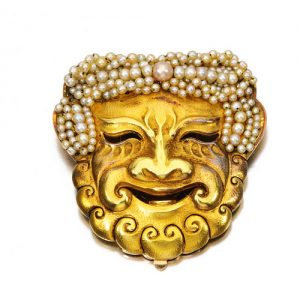René Boivin Theatrical Mask Brooch Circa 1910. Photo Courtesy of Christie's.