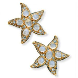 René Boivin Moonstone Starfish Ear Clips. Photo Courtesy of Christie's.