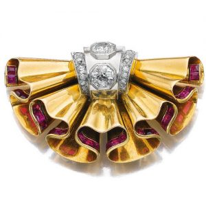 Retro Boivin Ruffled Diamond and Ruby Accented Brooch.