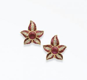 René Boivin Ruby Flower Ear Clips. Photo Courtesy of Christie's.