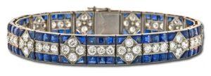 Art Deco Diamond and Sapphire Bracelet, Boucheron, Paris circa 1920's.