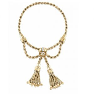 Signed and Numbered Boucheron, Paris Gold Tassel Necklace c.1946.