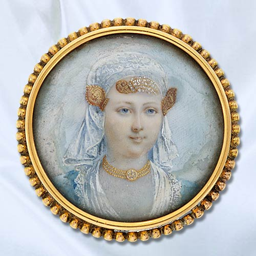Victorian Bridal Miniature on Ivory with Gold Embellishments.