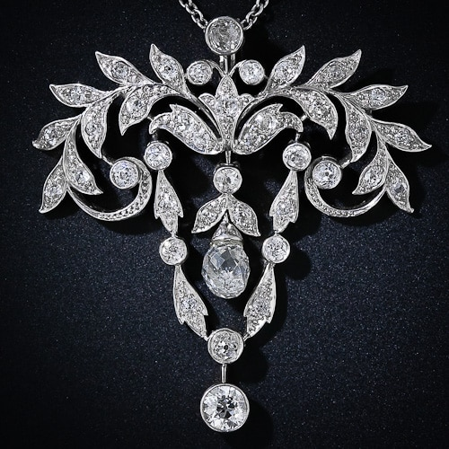Briolette Cut Diamond Edwardian Pendant.jpg
