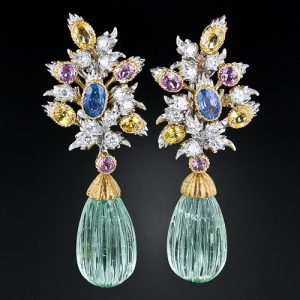 Buccellati Green Beryl and Multi-Colored Sapphire Earrings.