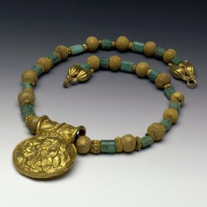 Bulla, Gold and Plasma Bead Necklace c.5th-2nd Century BC.