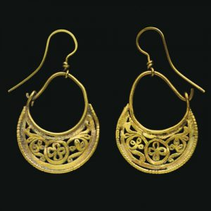 The Byzantine Earrings are of Crescentric Form with Beaded Wire Border. Circa 6th-7th Century A.D.