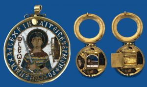Byzantine Reliquary Depicting St. George. The Pendant Opening to Reveal Four Relic Compartments and a Hinged Panel. The Interior Panel Decorated by an Enamel Representation of St Demetrius in the Tomb Concealing a Recumbent Golden Figure. © Trustees of the British Museum.