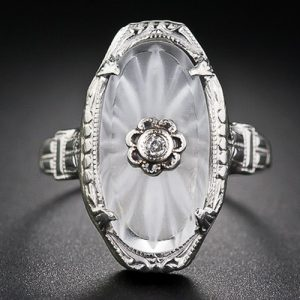 Vintage Camphor Glass and Diamond Ring.