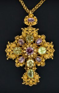 Pink Topaz & Chrysoberyl Cannetille Gold Cross c.1830.