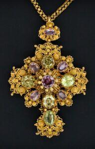 Pink Topaz & Chrysoberyl Cannetille Gold Cross c.1830.