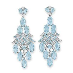 Art Deco Aquamarine and Diamond Cartier Earrings.