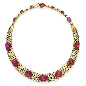 Cartier Art Deco Star Ruby, Diamond and Enamel Collar, c.1935.