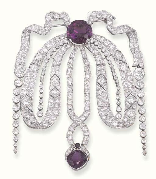 Cartier Belle Epoque Diamond and Amethyst Devant de Corsage.jpg