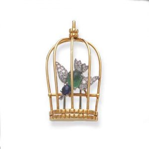 Cartier Protested the German Occupation During World War II by Creating Small Pins Depicting Caged Birds. c.1942.
