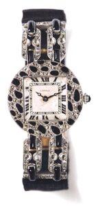 Cartier Peau de Panthère Diamond and Onyx Watch, c.1914. Photo Courtesy of Cartier Collection.