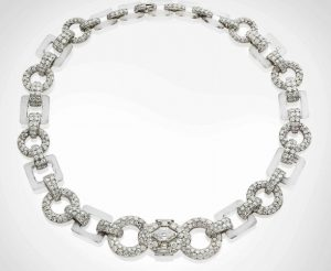 Cartier Art Deco Rock Crystal, Onyx and Diamond Necklace, c.1930.
