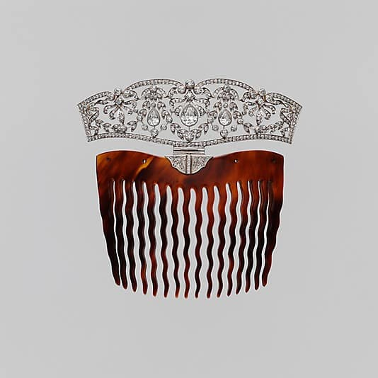 Cartier Tortoise Shell Platinum Diamond Hair Comb.jpg