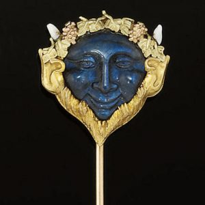 Labradorite, Gold and Enamel Stickpin Depicting Bacchus, c. 1890. Photo Courtesy of Christie's.