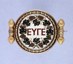 Micromosaic Set in a Gold Brooch Depicting a Greek Inscription, Castellani, c.1860s.