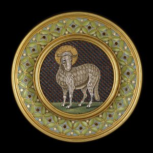 "Micromosaic Brooch Depicting the ""Lamb of God,"" Castellani, c.1860 Photo © Trustees of the British Museum."