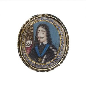 Memorial Pendent Portrait of King Charles I, Wearing the Blue moiré sash of the Order of the Garter. Image Courtesy of Christie's.