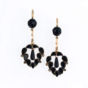 Black Onyx Mourning Earrings, Civil War Era.
