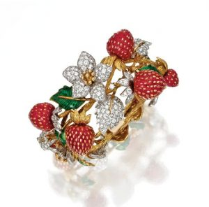 Tiffany - Claflin Diamond, Coral and Enamel Strawberry Bracelet. Photo Courtesy of Sotheby's.