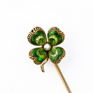 Enamel Four Leaf Clover Stickpin.