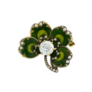 Four-Leaf Clover Diamond Watch Pin, with Basse-Taille Enameling.