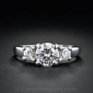 Contemporary Three Stone Diamond Engagement Ring.