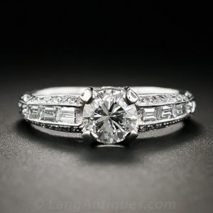 Contemporary Diamond Engagement Ring with Vintage Design.