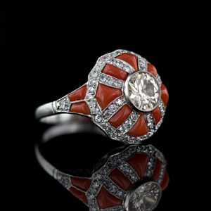 Art Deco Coral Ring