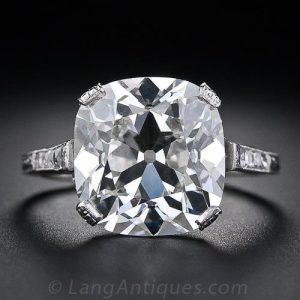 Antique Cushion Cut Diamond Ring.