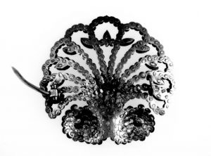 Scallop Shaped Cut-Steel Brooch: Reverse. Note the Pattern of Rivets Securing the Studs.