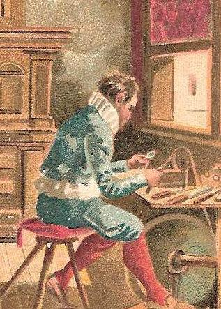 A Flemish Cutter ~1540 Using a cutting rig which he propels by kicking a wheel with his feet.