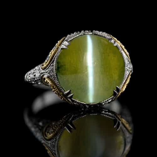in s with women custom cs gem tourmalines or ring stones yellow gold rings stone white colored designed chrysoberyl green set and