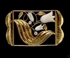 Dagobert Peche Carved Floral Brooch.